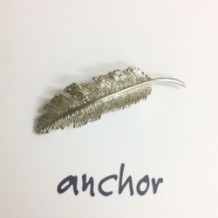 feather barrette -silver-