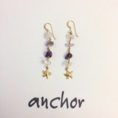 amethyst & starfish pierce