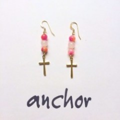 cross&pink stone pierce